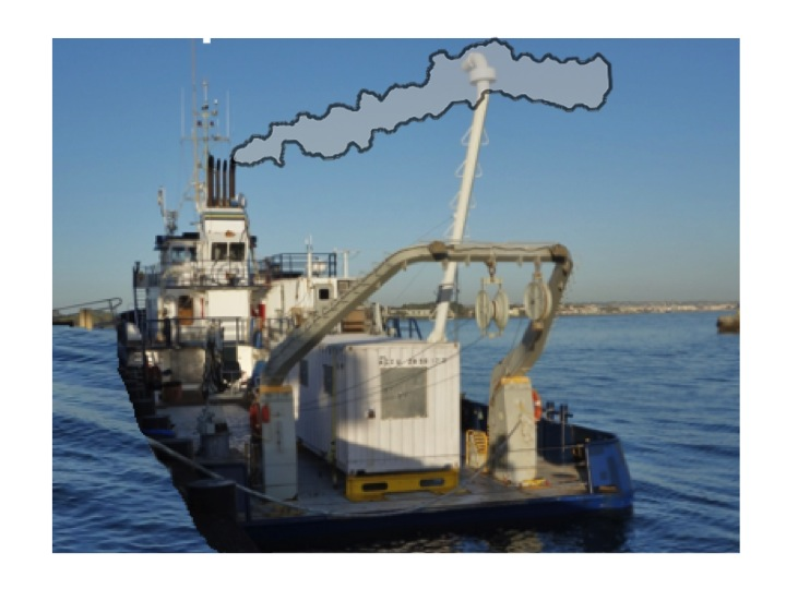 Biofuel emissions from the ship's smokestacks are captured by the trailer laboratory's snorkel..
