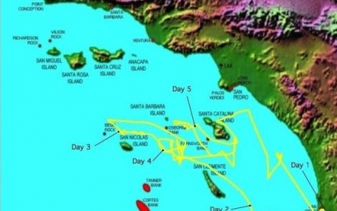 Journey traveled by the R/V Robert Gordon Sproul around California's Channel Islands.