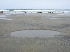 Low tide reveals the pitfalls that scour holes present at higher tide. © 2010 Judith Lea Garfield