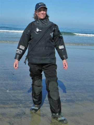Drysuits include the feet parts, which divers often protect by wearing soft-soled lightweight boots or sometimes high-top sneakers. ©2013 Judith Lea Garfield