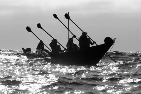 Annual Chumash Tomol 'Elye'wun paddlers crossing at Santa Cruz Island to keep the tradition.   photo by R. Schwemmer