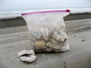 It only took a month of scuba diving in the La Jolla submarine canyon to collect this pile of surf wax, yet another petroleum product (like plastic) that leaches chemicals into the ocean. © 2009 JUDITHLEAGARFIELD